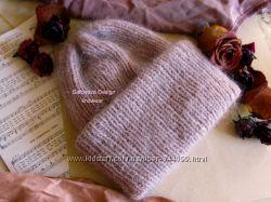 теплая шапка оттенка античной розы, пудра, сухая роза