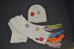 Яркий комплект шапка шарф для девочки 2-5 лет