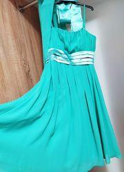 Красивое нарядное платье цвета морской волны. Размер 44. Накидка в подарок.