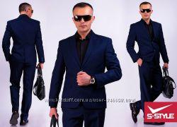 Подростково-мужской деловой костюм темно-синий, рост 164см, размер 42