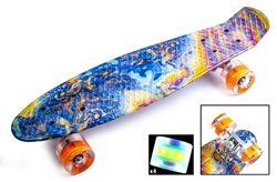 Скейтборд Пенни борд Penny Board 22 ACID Разноцветный Светящиеся колеса