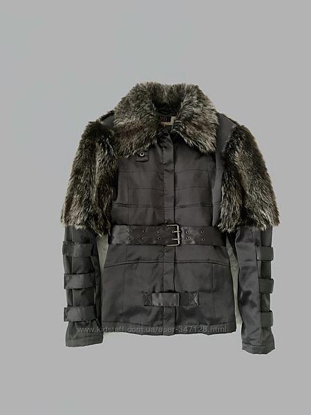 Стильная куртка с мехом. ML. Италия. Шикарная удлиненная атласная