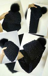 Зимняя шапка и шарф Набор