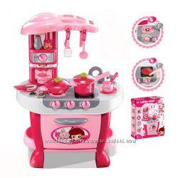 Кухня детская с посудкой 008-801А, розовая и оранжевая
