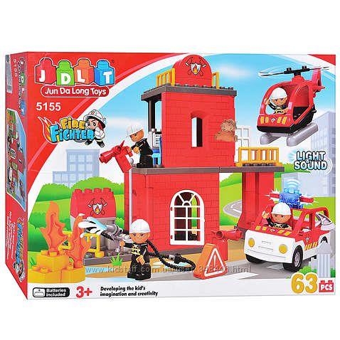 Конструктор детский 5155 Пожарка, пожарники, JDlT, крупные детали