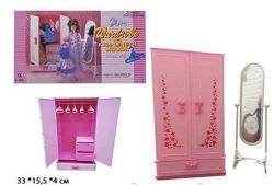 Мебель Gloria 9509 гардеробная шкаф, зеркало для кукол типа барби