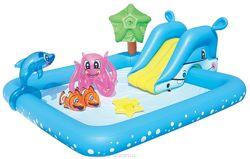 Bestway 53052 надувной бассейн аквариум с горкой игровой центр