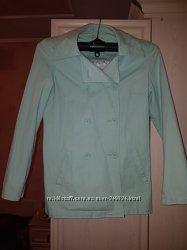 Коттоновый джинсовый пиджак, куртка на подкладке. s-m, сотс. нового. мята