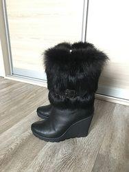 Ботинки 36р кожа натуральная зима мех песец