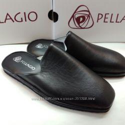Мужские кожаные тапочки модель 220 Черная кожа
