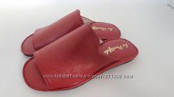 Кожаные тапочки модель 460 Красная кожа
