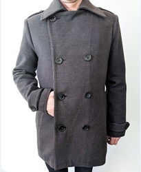 Пальто демисезонное мужское Утепленное шерстяное полупальто для парня