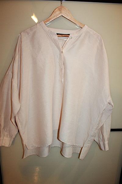 ZARA Блуза свободного кроя с длинным рукавом  лен вискоза  XL на 48-50 р