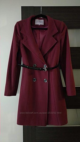 Качественное классическое пальто темно-синее и винное шерсть Vivalon