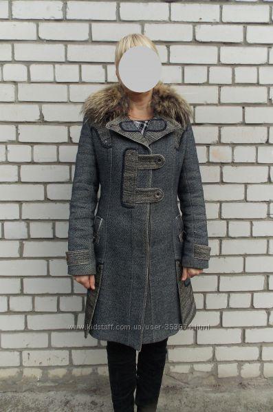 Пальто зимнее с натуральным мехом 46р