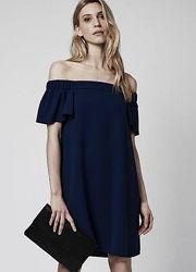 Новое черное платье трапеция с открытыми плечами river island размер 10