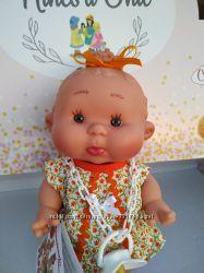 Ванильный пупсик девочка в оранжевом платье 26 см Pepotes Nines dOnil
