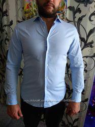 Мужская рубашка zara р 48 m-l. голубая с белым. она не реально крутая.