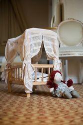 деревянная эко кроватка для куклы