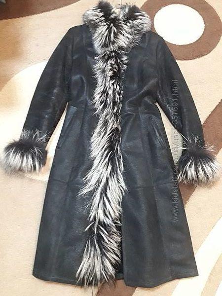 Обалденная натуральная дубленка с чернобуркой 46 размер