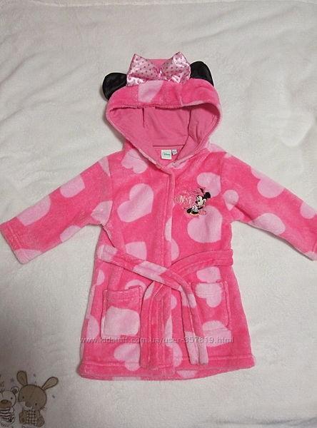 Очаровательный махровый халатик Disney Minnie Mouse, размер 68-74