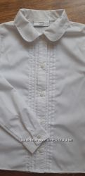 Белая блузка НЕКСТ NEXT с длинным рукавом 7-8 лет 128 см