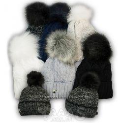 Вязаная шапка для девочек на зиму на подкладке  флис, Agbo Польша