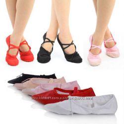 Детские, подростковые танцевальные балетки разноцветные