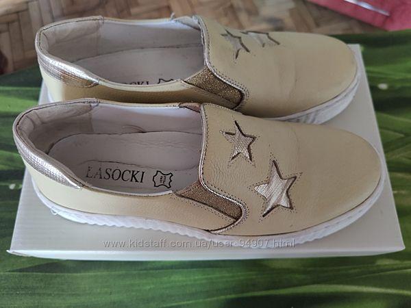 Туфли кожаные для подростка, польские Lasochki, стильные и удобные