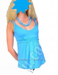 Трикотажная маечка для беременных Жгутик голубого цвета