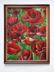 Картина маслом Маки, 30х40 см, оформлена в раму, можно на подарок