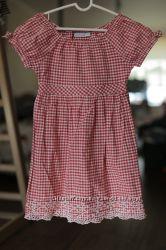 красивое платье крестьянка в клетку на 3-5 лет