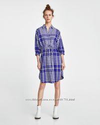 Синее платье рубашка ZARA - XS, L - Большемерят