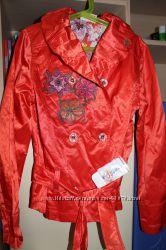 Ветровка, укороченный плащик, красный WOJCK  рост 152