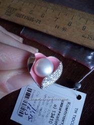Серебряное кольцо сердце нат жемчуг