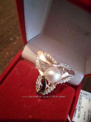 Серебряное кольцо натур жемчуг золото