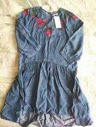 MANGO, Новое платье с вышивкой, лиоцелл, р. S