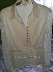 Шикарна котонова блузка, нарядна 46р