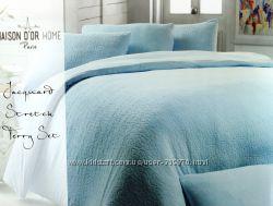 Теплое махровое постельное белье Евро размера 4 наволочки Maison D&acuteor