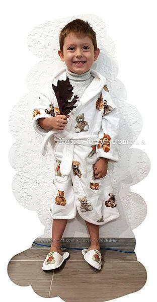 Детский махровый халат с тапочками Maison Dor Tobi Франция от 2 до 10л