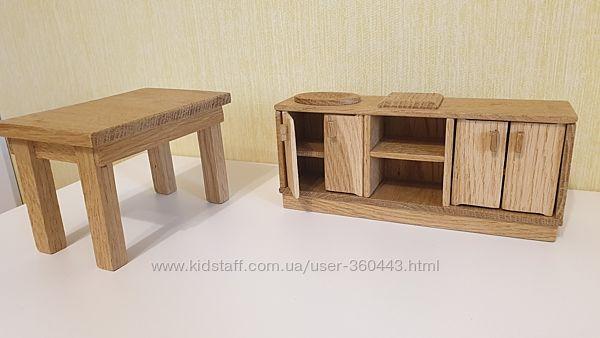 Стол и тумбочка из дерева  для Барби