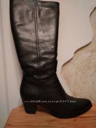 Кожаные сапоги натуральный мех р. 36-37
