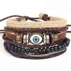 Многослойный широкий кожаный браслет Всевидящее око мужской для мужчин