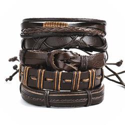 Цена за комплект 5-в-1 Широкий кожаный браслет мужской