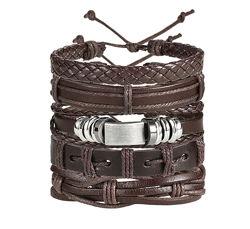 Цена за комплект 5-в-1 Широкий кожаный браслет мужской коричневый