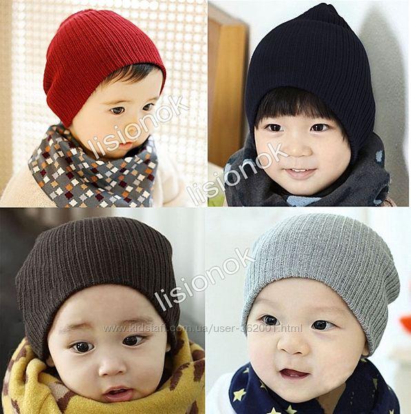 Теплая шапка на осень от рождения и до 4 лет, натуральная, не колит