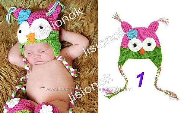 Вязанная шапка сова для детей 0 до 3 лет шерсть-акрил, на осень