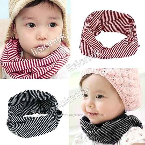 Очень теплый вязаный шарф хомут снуд, универсальный размер