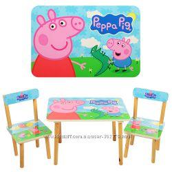 Столики деревянные с 2мя стульчиками дошкольные Bambi 501 Много цветов