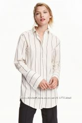 Удлиненная рубашка boyfriend женская в полоску H&M М Л